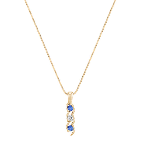 "Round Kentucky Blue Sapphire and Diamond Three-Stone Pendant (18"")"