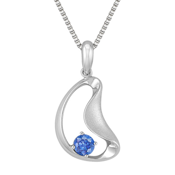 Round Kentucky Blue Sapphire and Sterling Silver Pendant (18)