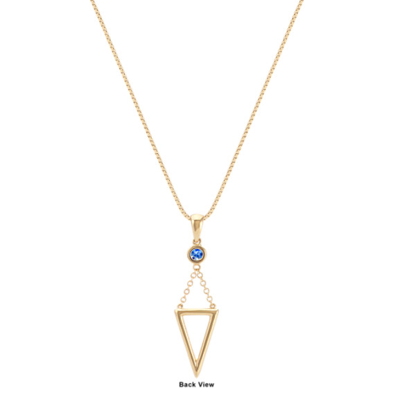 """Round Kentucky Blue Sapphire and Triangle Pendant (18"""")"""