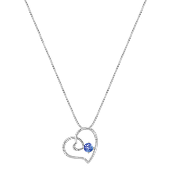 Round Kentucky Sapphire and Diamond Heart Pendant (18)