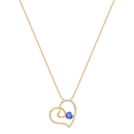 "Round Kentucky Sapphire and Diamond Heart Pendant (18"")"