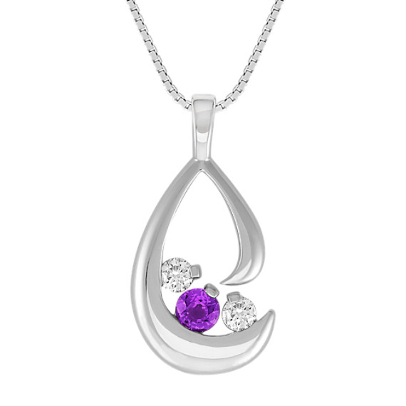 Round Lavender Sapphire and Diamond Three-Stone Pendant (18)