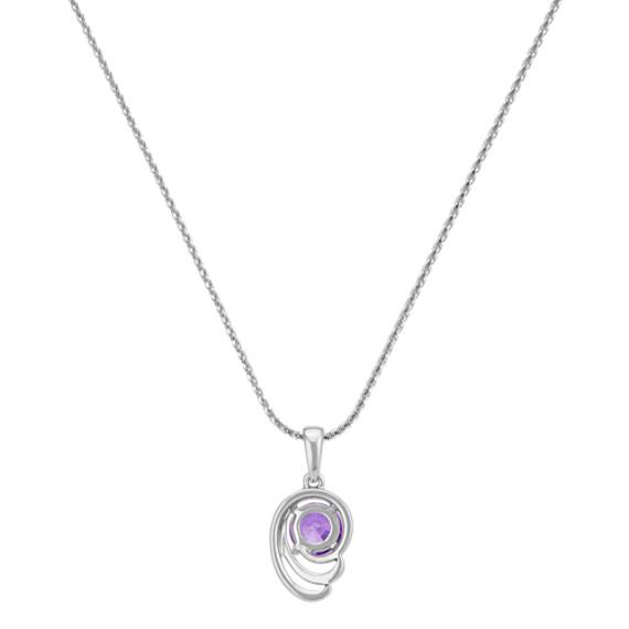 "Round Lavender Sapphire Double Swirl Pendant (22"")"