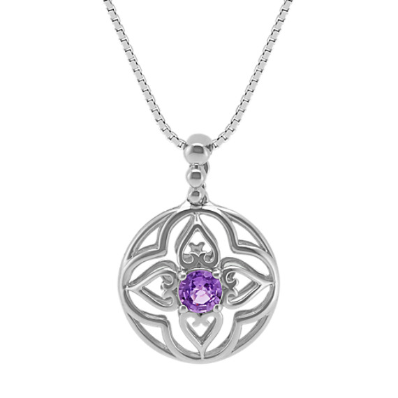 "Round Lavender Sapphire Floral Pendant (18"")"