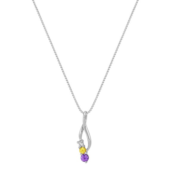 Round Multi-Colored Sapphire and Diamond Three-Stone Pendant (18)