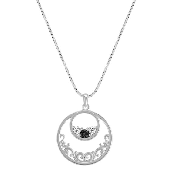 Round Multi-Colored Sapphire Circle Pendant in Sterling Silver (18)