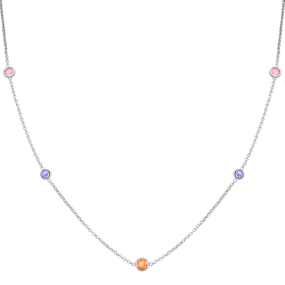 Round Multi-Colored Sapphire Necklace (18)