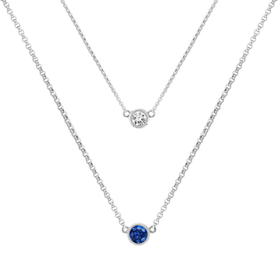Round Multi-Colored Sapphire Necklace (18'')