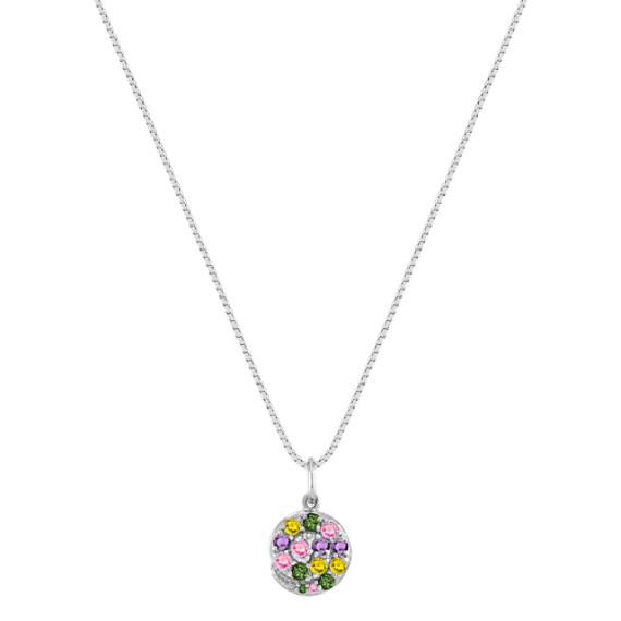 Round Multi-Colored Sapphire Pendant (18)