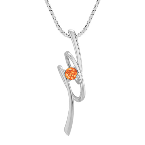 Round Orange Sapphire and Sterling Silver Pendant (18)