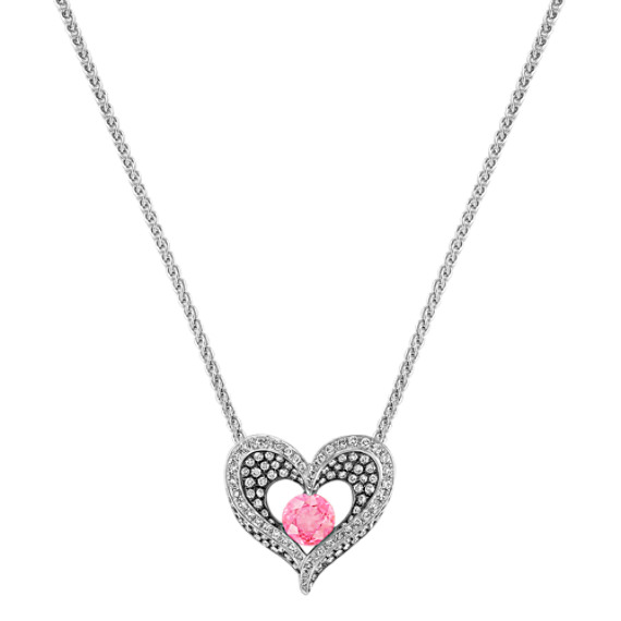 "Round Pink Sapphire and Diamond Heart Pendant with Black Rhodium (18"")"
