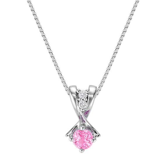 Round Pink Sapphire and Diamond Three-Stone Pendant (18)