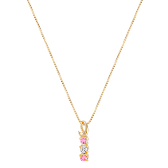 Round Pink Sapphire and Diamond Three-Stone Pendant (18)