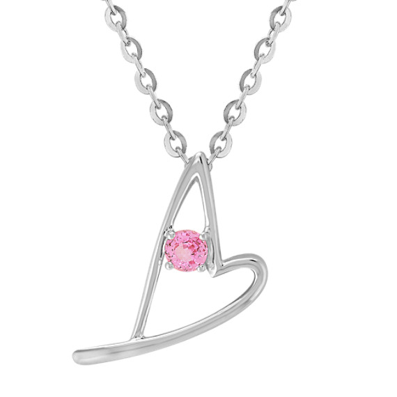 "Round Pink Sapphire and Sterling Silver Sweetheart Heart Pendant (18"")"