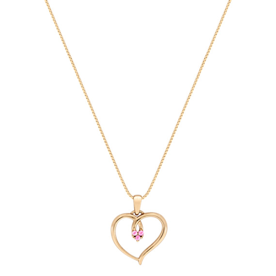 "Round Pink Sapphire Heart Pendant (18"")"
