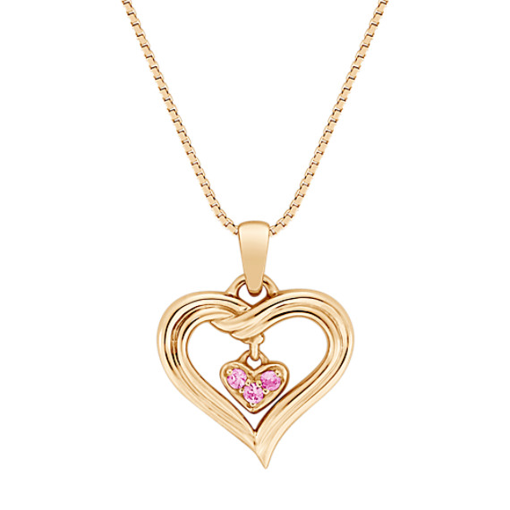 Round Pink Sapphire Heart Pendant (18)