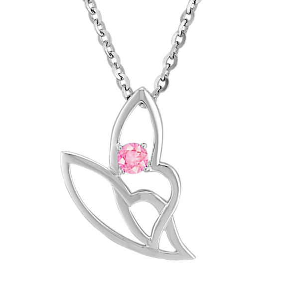 Round Pink Sapphire Pendant in Sterling Silver (18)