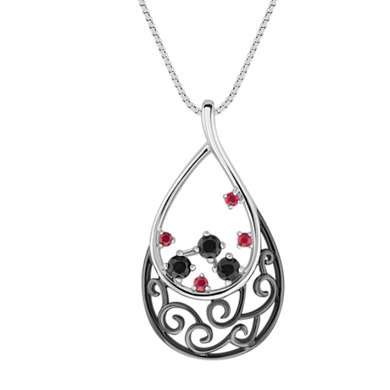 """Round Ruby and Black Sapphire Pendant (18"""")"""