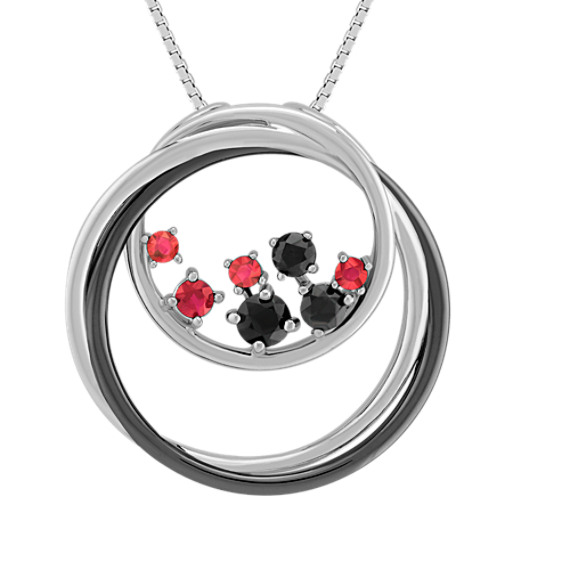 "Round Ruby and Black Sapphire Pendant (18"")"