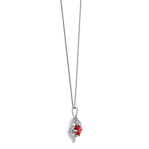 Round Ruby and Diamond Circle Pendant in 14k White Gold (18 in.)