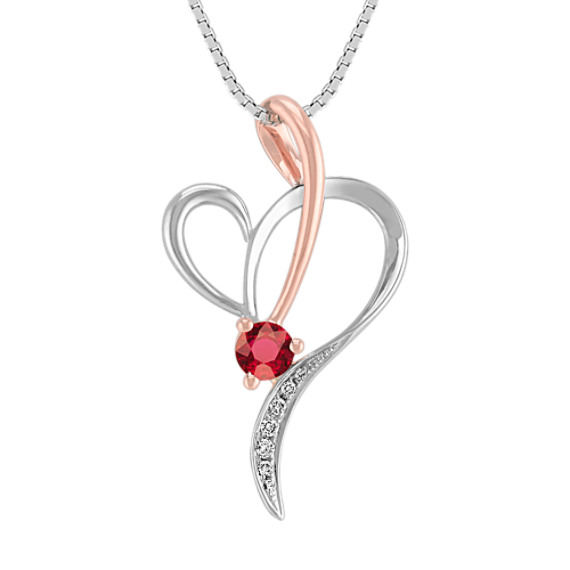"Round Ruby and Diamond Heart Pendant in 14k White and Rose Gold (18"")"