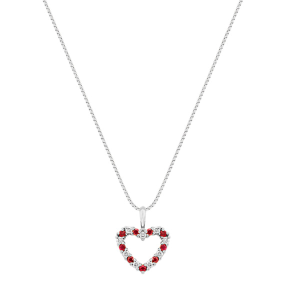 "Round Ruby and Diamond Heart Pendant (18"")"