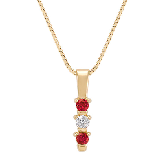 Round Ruby and Diamond Three-Stone Pendant (18)