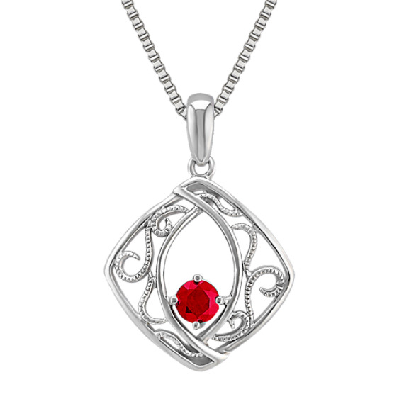 "Round Ruby and Sterling Silver Pendant (18"")"