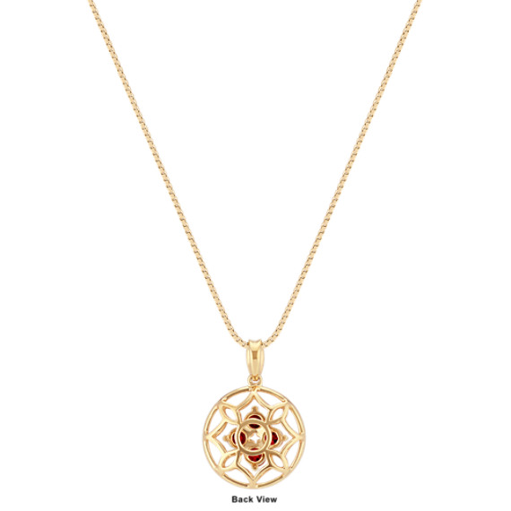 "Round Ruby Cluster Pendant in 14k Yellow Gold (18"")"