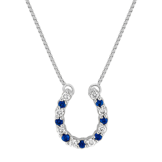 "Round Sapphire and Diamond Horseshoe Pendant (18"")"