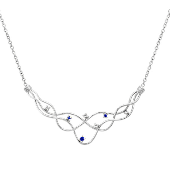 "Round Sapphire and Diamond Necklace (17"")"