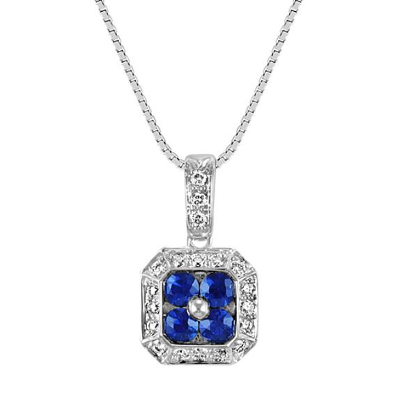 "Round Sapphire and Diamond Pendant (18"")"