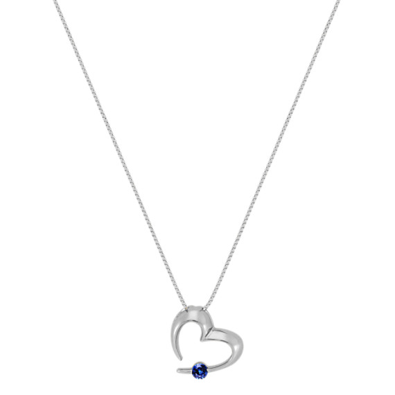 Round Sapphire Heart Pendant (18)