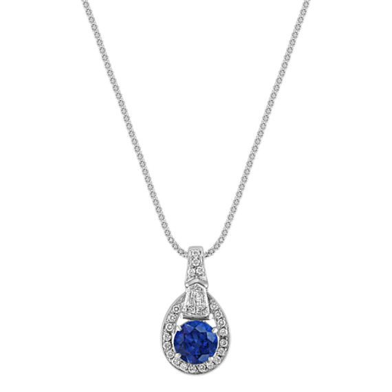 "Round Sapphire, Shield Shaped, and Round Diamond Pendant (18"")"