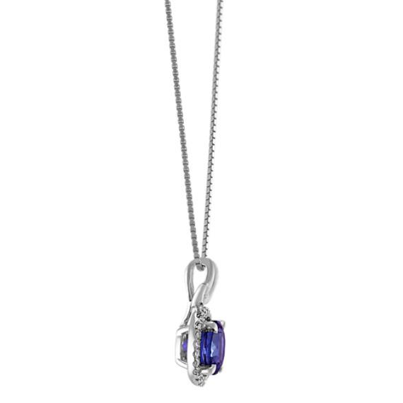 "Round Tanzanite and Round Diamond Pendant (18"")"