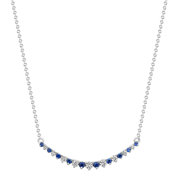 "Round Traditional Sapphire and Round Diamond Necklace (16"")"