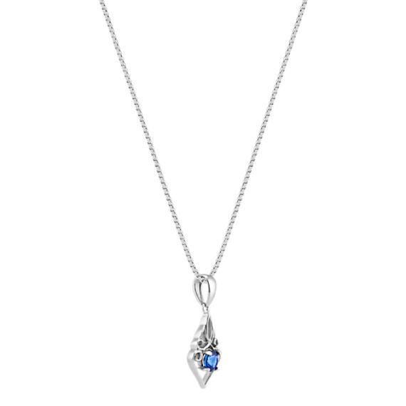 """Round Traditional Sapphire Swirl Pendant in Sterling Silver (18"""")"""