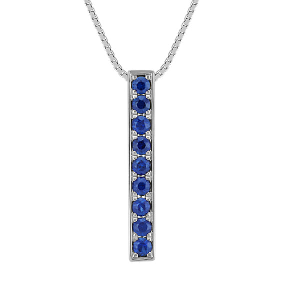"Round Traditional Sapphire Vertical Bar Pendant in 14k White Gold (18"")"