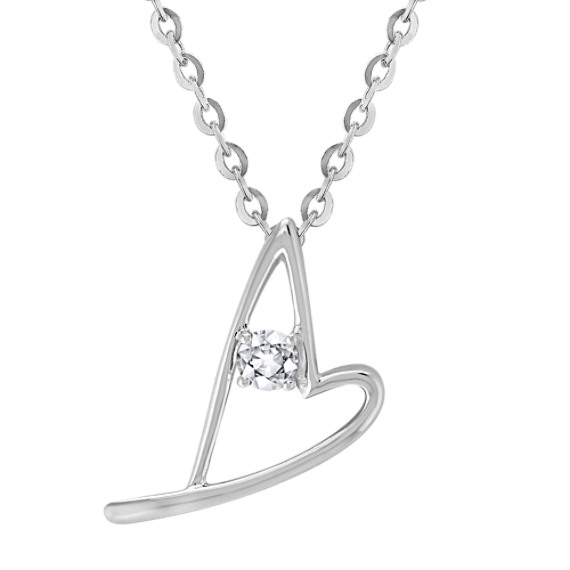 "Round White Sapphire and Sterling Silver Sweetheart Heart Pendant (18"")"