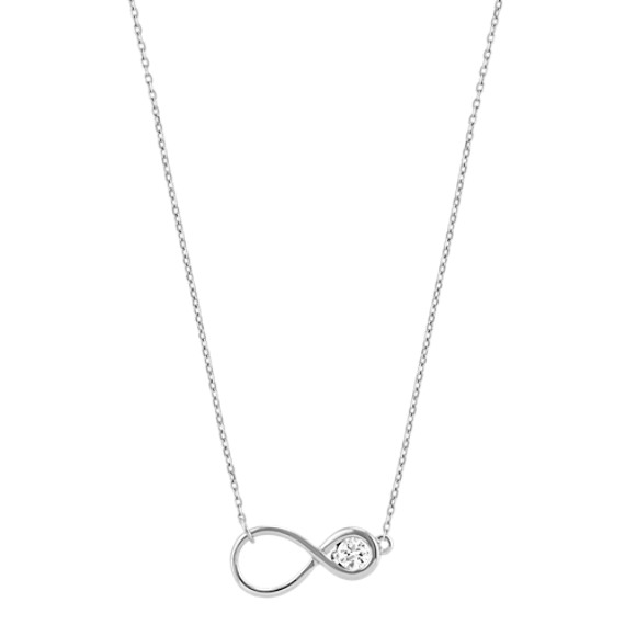 """Round White Sapphire Infinity Necklace (18"""")"""
