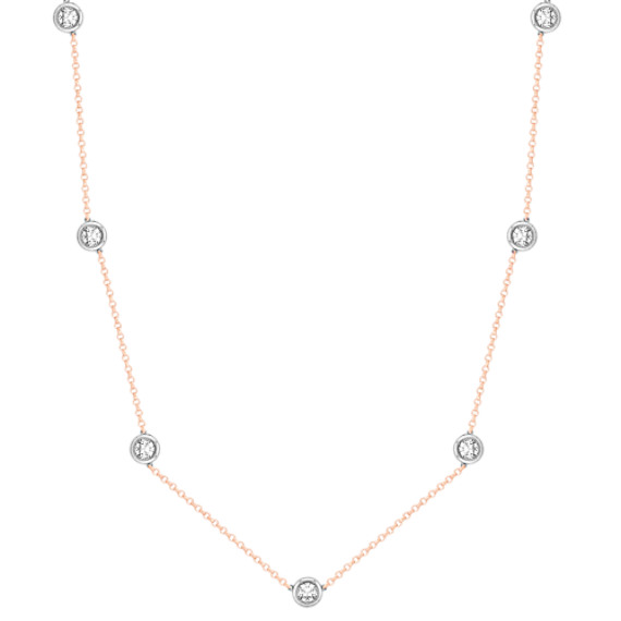 Round White Sapphire Necklace in 14k White and Rose Gold (16)