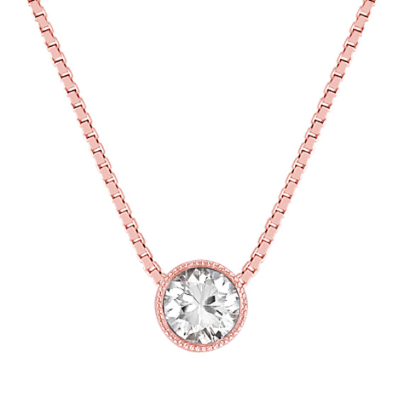 Round White Sapphire Pendant in 14k Rose Gold (18)