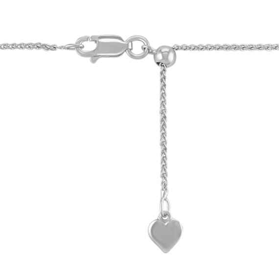 "Round White Sapphire Pendant with Milgrain Detailing (18"")"