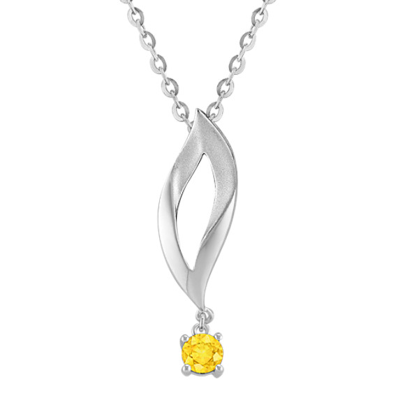 "Round Yellow Sapphire and Sterling Silver Pendant (18"")"