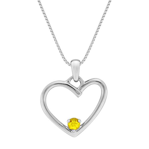 "Round Yellow Sapphire Heart Pendant (18"")"