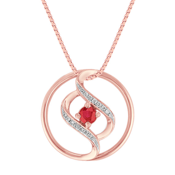 Ruby and Diamond Circle Pendant in White & Rose Gold (18)