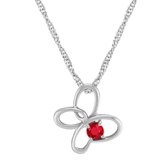 "Ruby and Sterling Silver Floral Pendant (20"")"