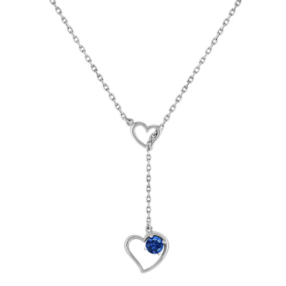 Sapphire and Sterling Silver Heart Necklace (17)