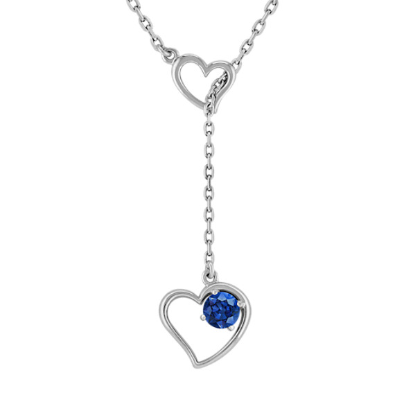 "Sapphire and Sterling Silver Heart Necklace (17"")"