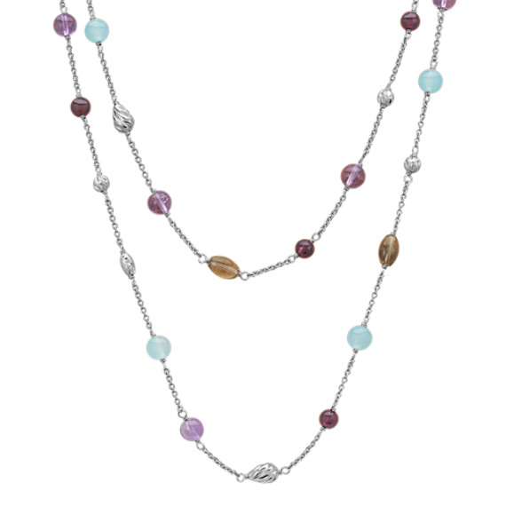 "Sea Blue Agate, Amethyst, Smoky Quartz and Garnet Necklace in Sterling Silver (24"")"